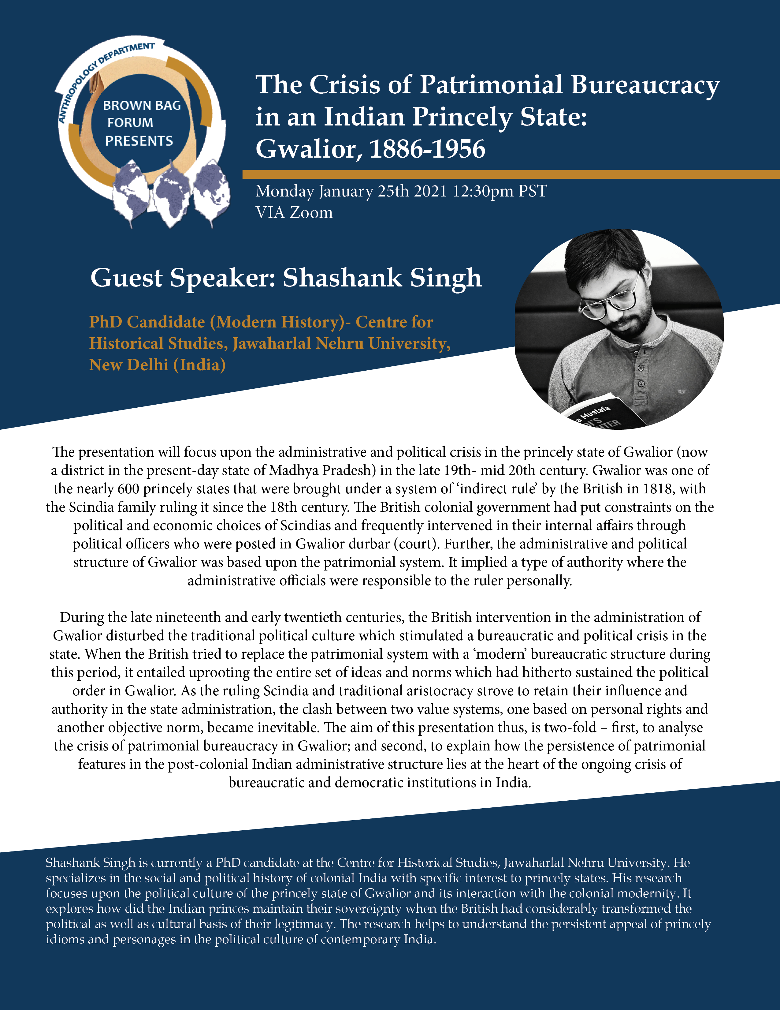 image is of the speaker flyer with Shashank Singh's Bio and Abstract