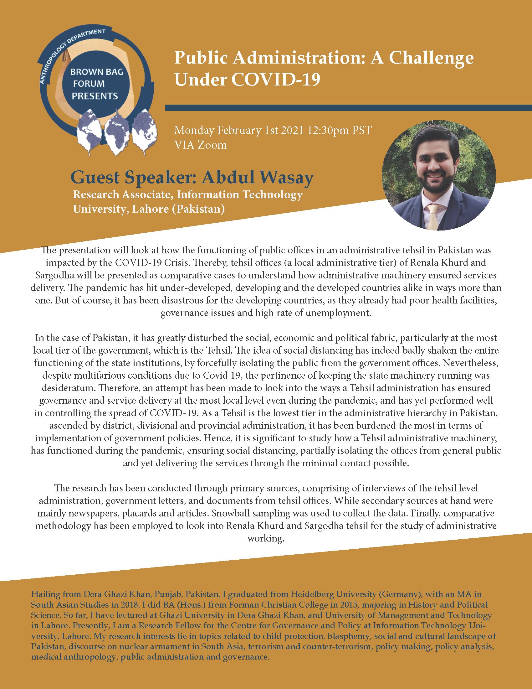 image is of the speaker flyer with Abdul Wasay's Bio and Abstract