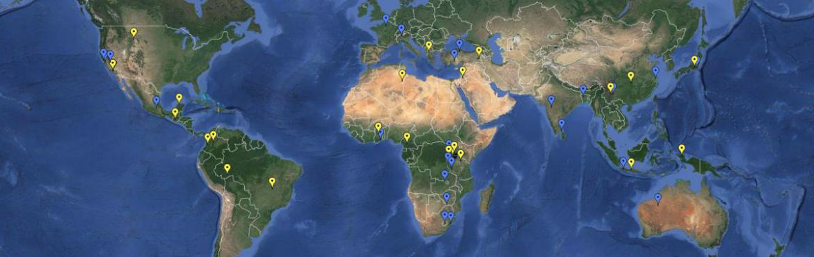 anthropology research map showing faculty and students research sites